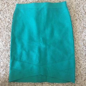 S Bebe Women's Teal Pencil Skirt